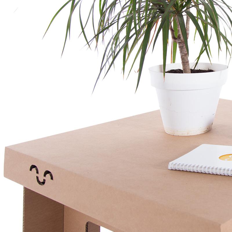 mesa baja carton cuadrada detalle