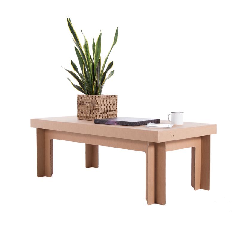 mesa rectangular baja carton ecologica