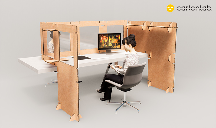 mampara protectora oficina modular