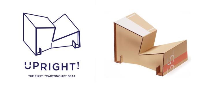 packaging. Upright cardboard chair reuse