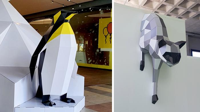 Pingüino y gato low poly