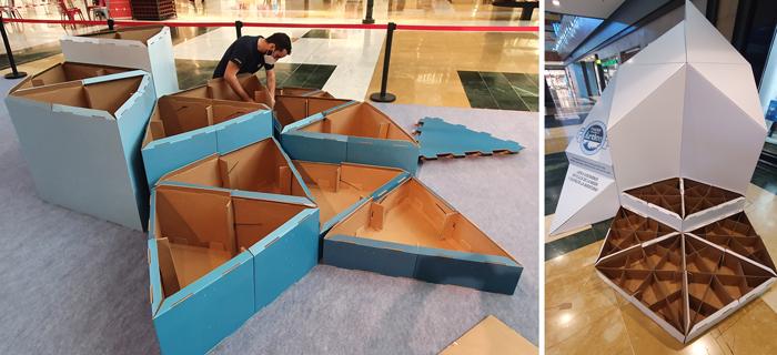 cardboard playground installation