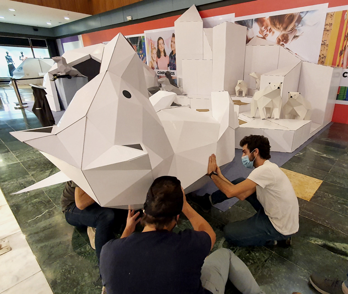 giant cardboard bear installation.