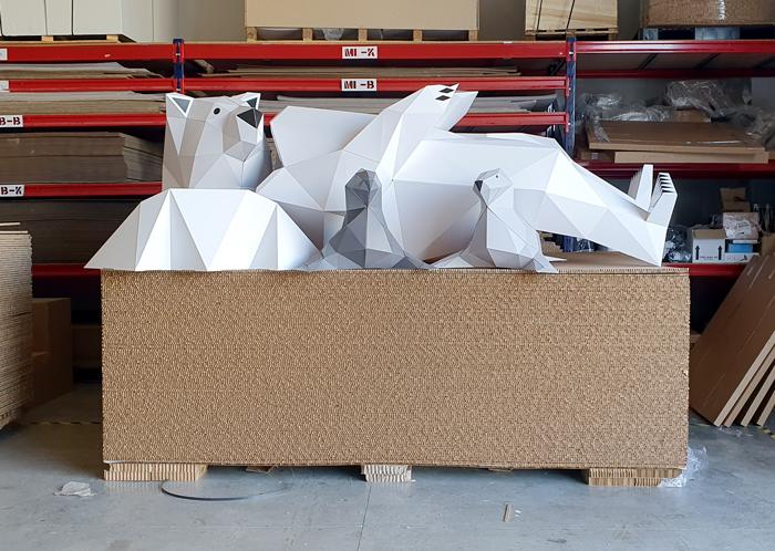 cardboard Polar bear dismantled before installation