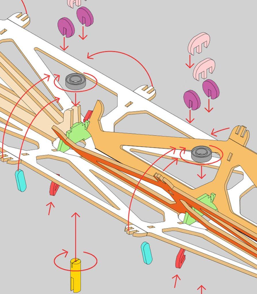 detalle constructivo de uno de los nudos de la estructura