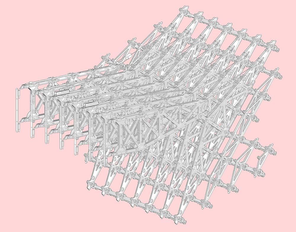 Lampara extensible cartonlab. Axonométrica.
