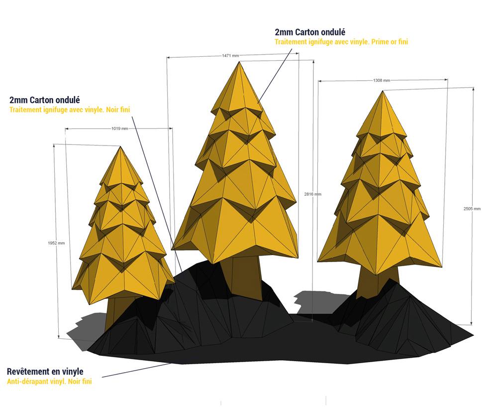 Diseño de árbol para decoración navideña de centros comerciales