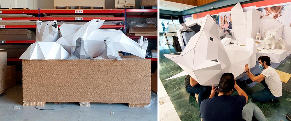 Producción y montaje de oso low poly para decoración navideña.