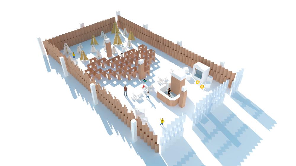 Diseño 3D de decoración navideña ecológica para centros comerciales