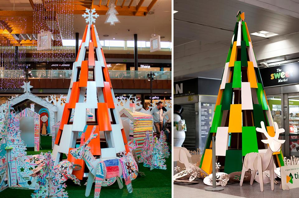 Árboles personalizados de Navidad para centros comerciales