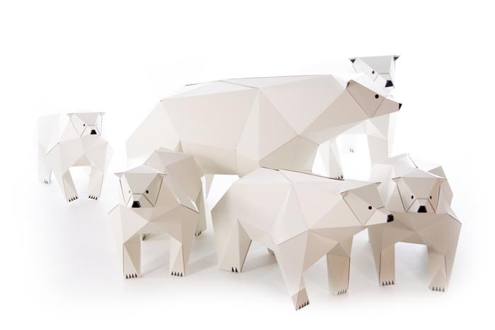 Familia de osos para decoración ecológica de Navidad.