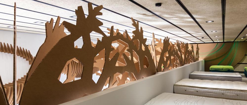 Ramas en diseño interior de tienda ecológica