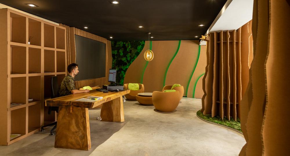diseño interior de oficina de tienda ecológica