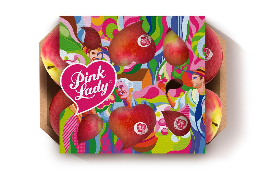 Packaging ilustrado de Pink Lady